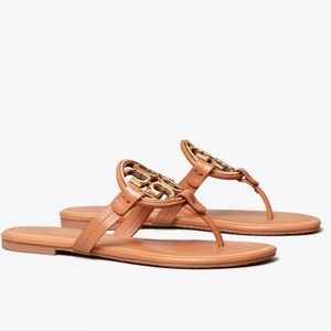 Tory Burch Camel Patent Metal Miller Sandals Sz9